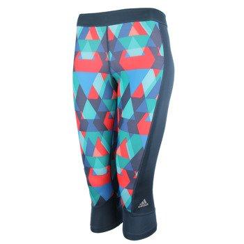 spodnie sportowe damskie 3/4 ADIDAS TECHFIT CAPRI TYPO PRINT / AJ0533